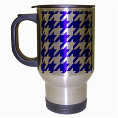 Houndstooth Blue Travel Mug (silver Gray) by MoreColorsinLife