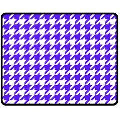 Houndstooth Blue Fleece Blanket (medium)  by MoreColorsinLife
