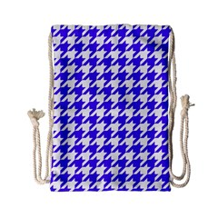 Houndstooth Blue Drawstring Bag (small) by MoreColorsinLife