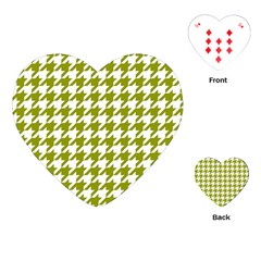 Houndstooth Green Playing Cards (heart)  by MoreColorsinLife