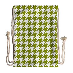 Houndstooth Green Drawstring Bag (large) by MoreColorsinLife