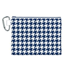 Houndstooth Midnight Canvas Cosmetic Bag (L) by MoreColorsinLife