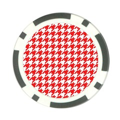Houndstooth Red Poker Chip Card Guards (10 Pack)  by MoreColorsinLife