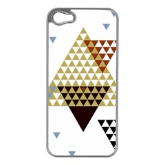 Colorful Modern Geometric Triangles Pattern Apple Iphone 5 Case (silver) by Dushan