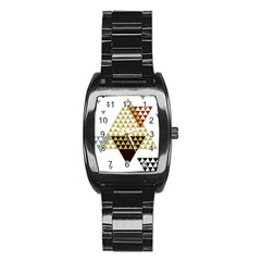 Colorful Modern Geometric Triangles Pattern Stainless Steel Barrel Watch by Dushan
