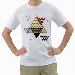 Colorful Modern Geometric Triangles Pattern Men s T-Shirt (White)