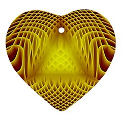Swirling Dreams Yellow Heart Ornament (2 Sides) by MoreColorsinLife