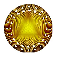 Swirling Dreams Yellow Round Filigree Ornament (2Side) by MoreColorsinLife