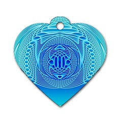 Swirling Dreams, Aqua Dog Tag Heart (one Side) by MoreColorsinLife