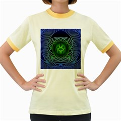 Swirling Dreams, Blue Green Women s Fitted Ringer T Shirts by MoreColorsinLife