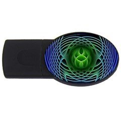 Swirling Dreams, Blue Green Usb Flash Drive Oval (2 Gb)  by MoreColorsinLife