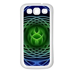 Swirling Dreams, Blue Green Samsung Galaxy S3 Back Case (white) by MoreColorsinLife