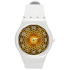 Swirling Dreams, Golden Round Plastic Sport Watch (m) by MoreColorsinLife