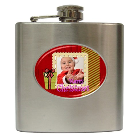Xmas By Man   Hip Flask (6 Oz)   C40spi37ffy1   Www Artscow Com Front