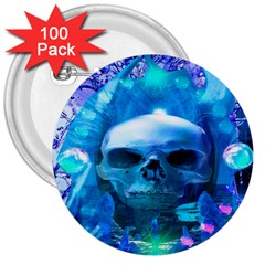 Skull Worship 3  Buttons (100 pack)