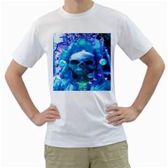 Skull Worship Men s T-Shirt (White) (Two Sided)