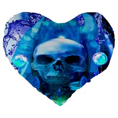 Skull Worship Large 19  Premium Flano Heart Shape Cushions by icarusismartdesigns