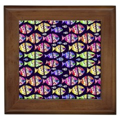 Colorful Fishes Pattern Design Framed Tiles by dflcprints