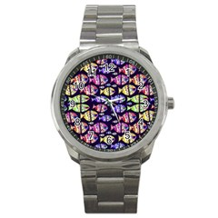 Colorful Fishes Pattern Design Sport Metal Watches by dflcprints