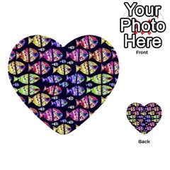 Colorful Fishes Pattern Design Multi Purpose Cards (heart)  by dflcprints