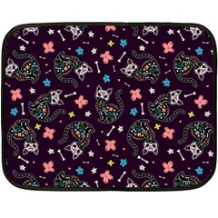 Dia De Los Gatos Mini Fleece Blanket (single Sided) by Ellador