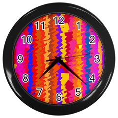 Colorful Pieces Wall Clock (black) by LalyLauraFLM
