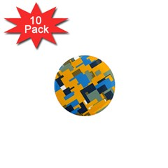 Blue Yellow Shapes 1  Mini Magnet (10 Pack)  by LalyLauraFLM