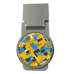 Blue Yellow Shapes Money Clip (round) by LalyLauraFLM