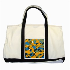 Blue Yellow Shapes Two Tone Tote Bag by LalyLauraFLM