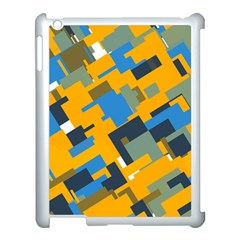 Blue Yellow Shapes Apple Ipad 3/4 Case (white) by LalyLauraFLM