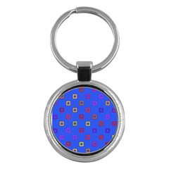 3d Squares On A Blue Background Key Chain (round) by LalyLauraFLM