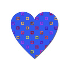 3d Squares On A Blue Background Magnet (heart) by LalyLauraFLM