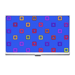 3d Squares On A Blue Background Business Card Holder by LalyLauraFLM