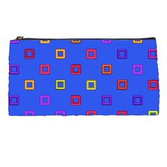 3d Squares On A Blue Background Pencil Case by LalyLauraFLM