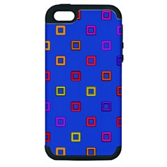 3d Squares On A Blue Background Apple Iphone 5 Hardshell Case (pc+silicone) by LalyLauraFLM