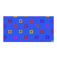 3d squares on a blue background Satin Wrap by LalyLauraFLM