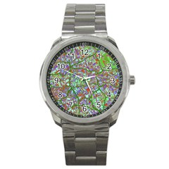 Fantasy City Maps 2 Sport Metal Watches by MoreColorsinLife