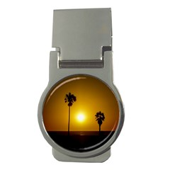 Sunset Scene At The Coast Of Montevideo Uruguay Money Clips (round)  by dflcprints