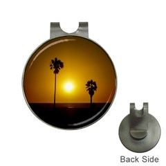Sunset Scene At The Coast Of Montevideo Uruguay Hat Clips With Golf Markers by dflcprints