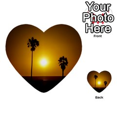 Sunset Scene At The Coast Of Montevideo Uruguay Multi Purpose Cards (heart)