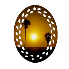 Sunset Scene At The Coast Of Montevideo Uruguay Oval Filigree Ornament (2 Side)  by dflcprints