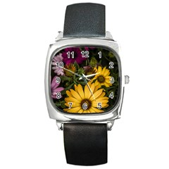 Beautiful Colourful African Daisies  Square Metal Watches by OZMedia