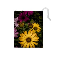 Beautiful Colourful African Daisies  Drawstring Pouches (medium)  by OZMedia