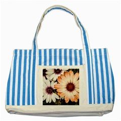 Beautiful Colourful African Daisies Striped Blue Tote Bag  by OZMedia
