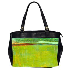 Abstract Landscape In Green  Office Handbags (2 Sides)  by BIBILOVER