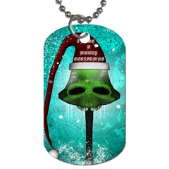 I Wish You A Merry Christmas, Funny Skull Mushrooms Dog Tag (one Side) by FantasyWorld7
