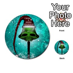 I Wish You A Merry Christmas, Funny Skull Mushrooms Multi Purpose Cards (round)
