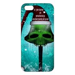 I Wish You A Merry Christmas, Funny Skull Mushrooms Apple Iphone 5 Premium Hardshell Case by FantasyWorld7