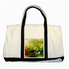 Awesome Flowers And Lleaves With Dragonflies On Red Green Background With Grunge Two Tone Tote Bag  by FantasyWorld7