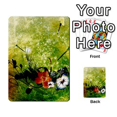 Awesome Flowers And Lleaves With Dragonflies On Red Green Background With Grunge Multi Purpose Cards (rectangle)